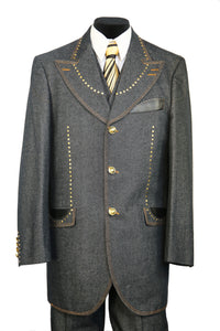 Harlem Brass and Faux Leather Accents Denim 3pc Zoot Suit Set