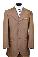 High Peaked Lapel Tri Pocket Denim 3pc Zoot Suit Set - Brown