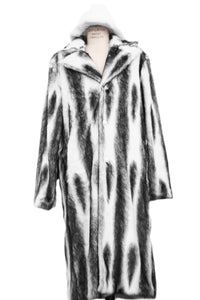 WINTER SPECIAL: FREE FUR HAT + Faux Wolf Fur Coat Buttoned 1pc Long Zoot Suit - Black