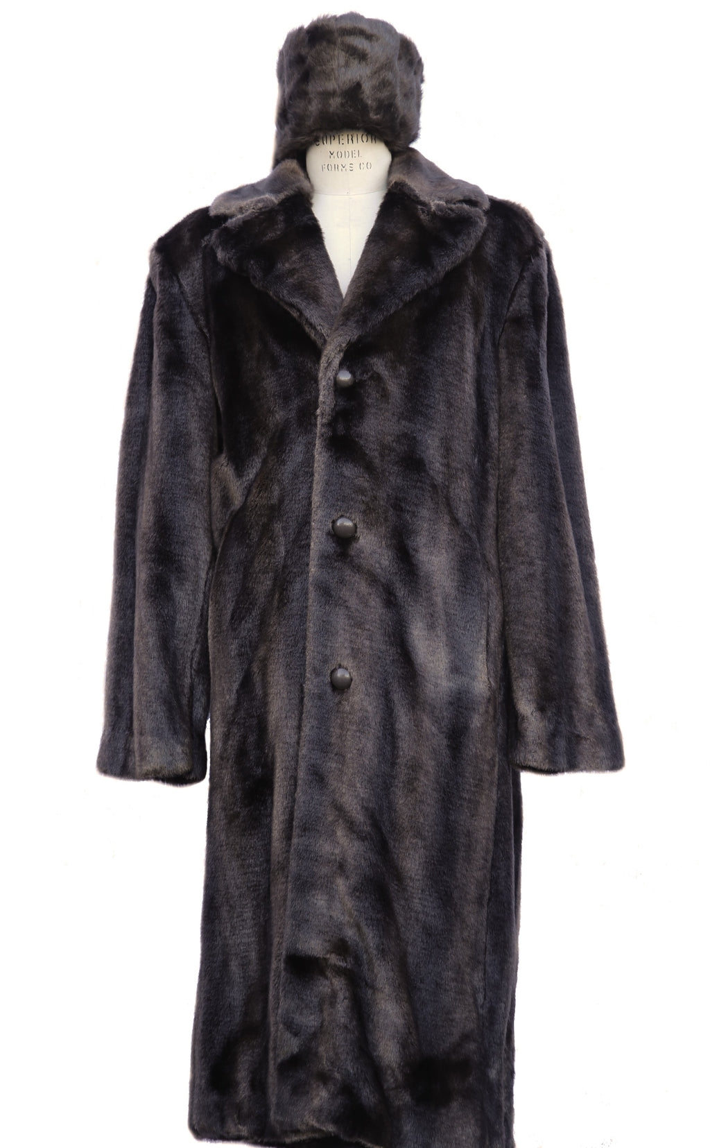 WINTER SPECIAL: FREE FUR HAT + Faux Bear Pelt Fur Coat Buttoned 1pc Long Zoot Suit - Brown