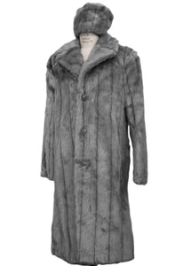 WINTER SPECIAL: FREE FUR HAT + Faux Mink Pelt Fur Coat Buttoned 1pc Long Zoot Suit - Grey