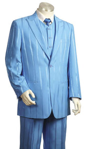 Reflective Stripes  3pc Zoot Suit Set - Baby Blue