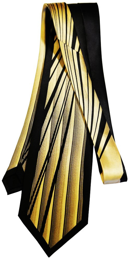 Men's Panther Stripes Mulberry Silk Tie - Gold