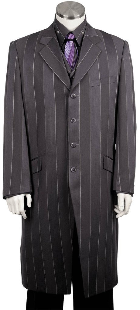 Pinstripe Stylish 3pc Long Zoot Suit Set - Silver