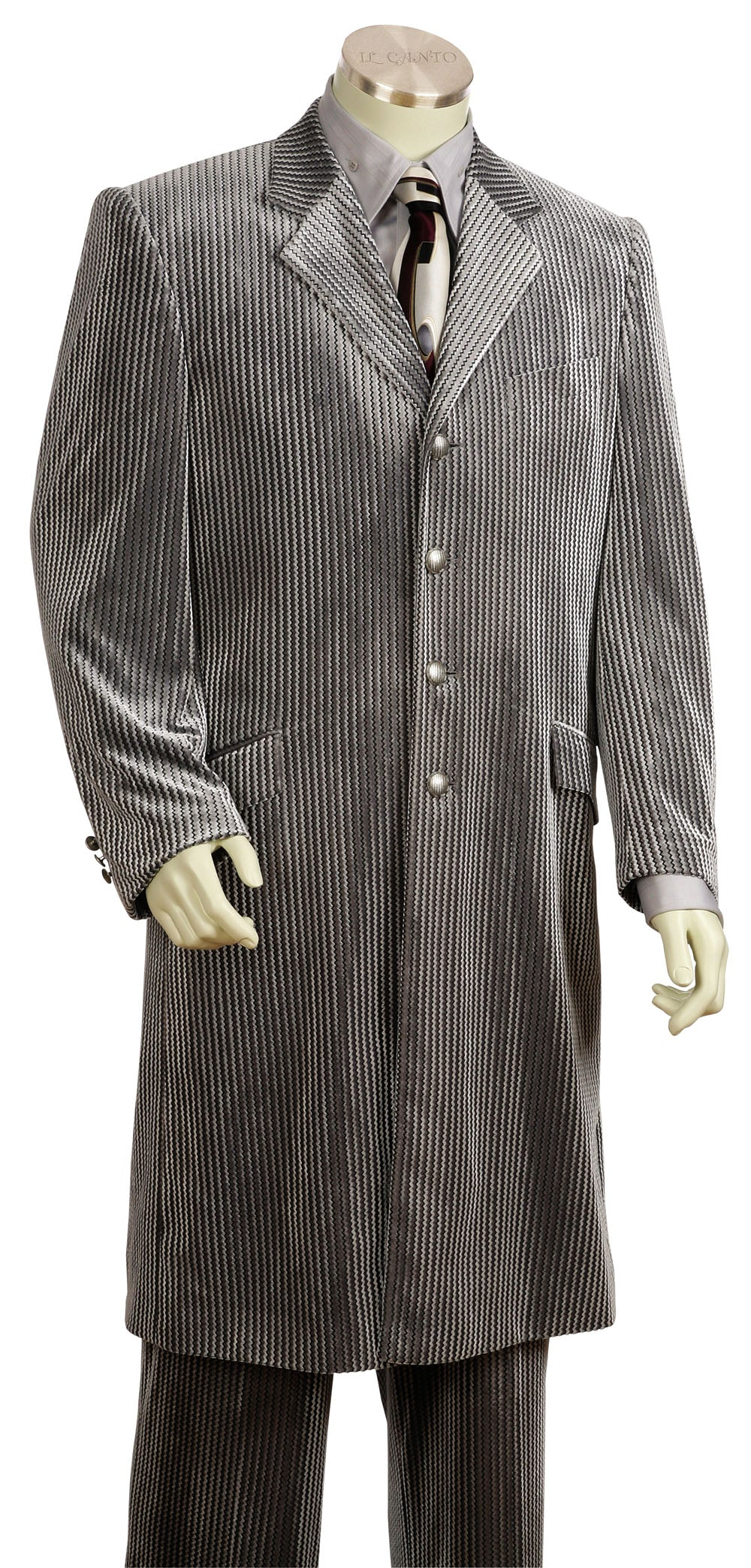 Ribbed Velvet 2pc Long Zoot Suit Set - Grey