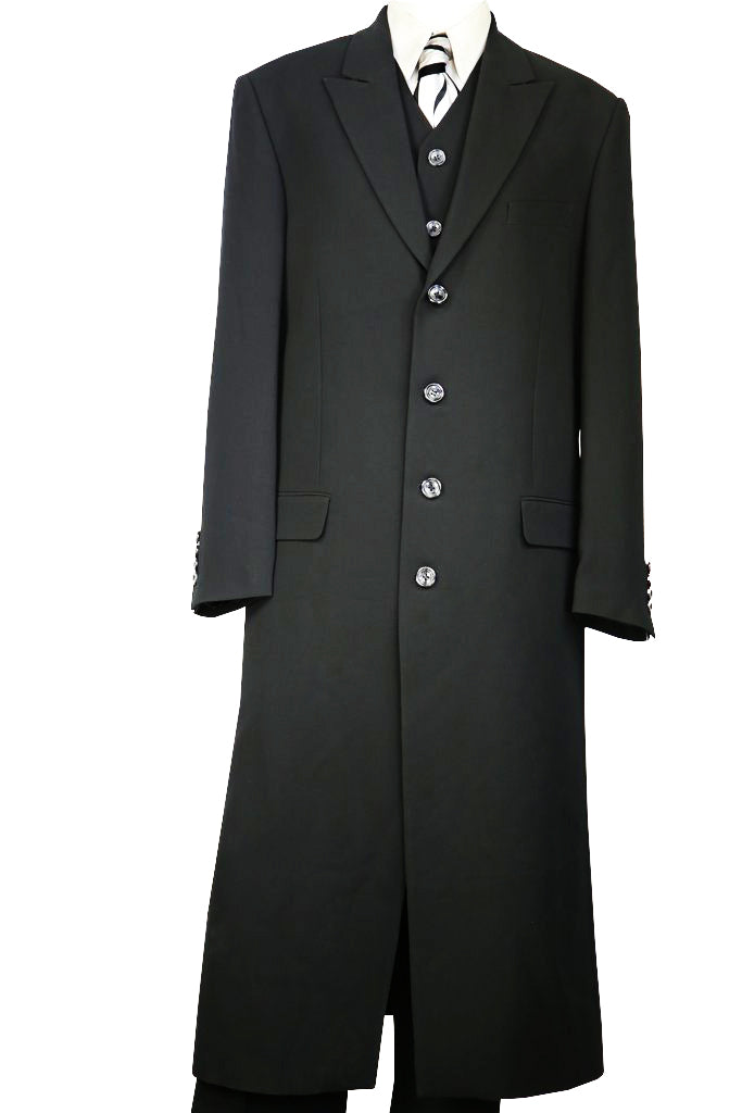 Stylish 3pc Long Zoot Suit Set - Black