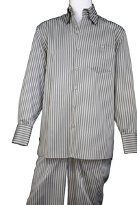 Victorian Stripes Long Sleeve 2pc Walking Suit Set Olive