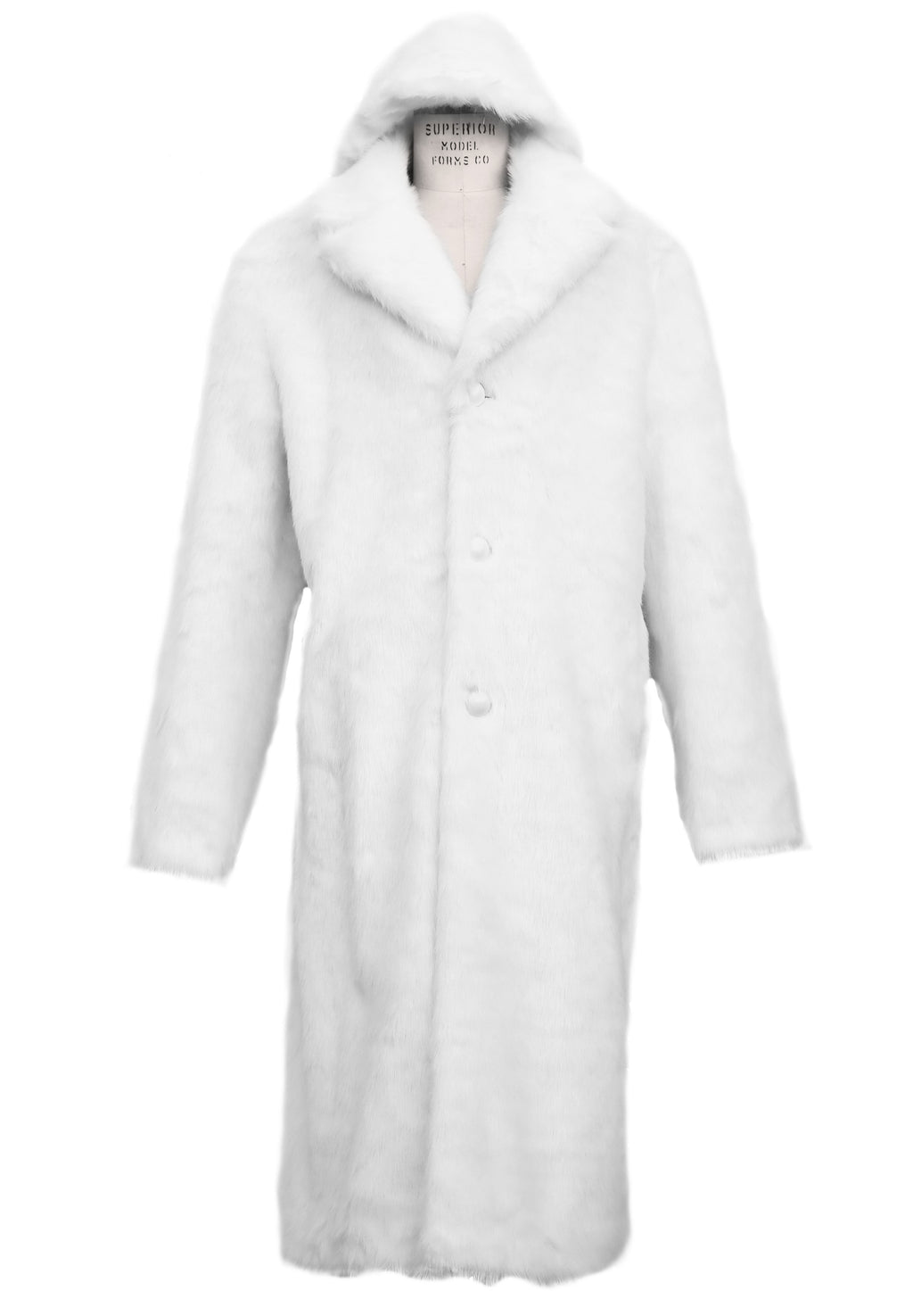 WINTER SPECIAL: FREE FUR HAT + Faux Arctic Fur Coat Buttoned 1pc Long Zoot Suit - Arctic White