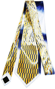Men's Abstract Pill Grid Mulberry Silk Tie - Gold