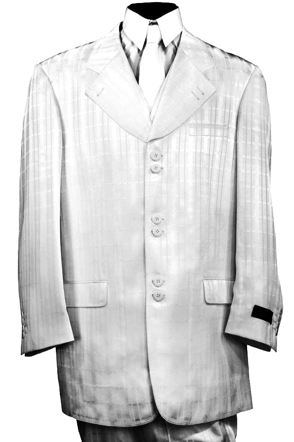 Ombre Grid Wide Lapel 2pc Zoot Suit Set - White