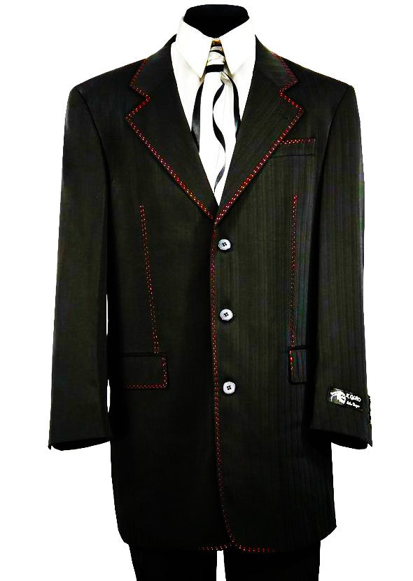 Citywalker Designer Matte Stitched 2pc  Zoot Suit Set - Black w/ Red Stitching