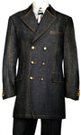 Stylish Trench Collar Double Breasted Stitch Accent Denim 3pc Zoot Suit Set - Black