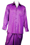 Abstract Shapes Emblazoned Long Sleeve 2pc Walking Suit Set - Purple
