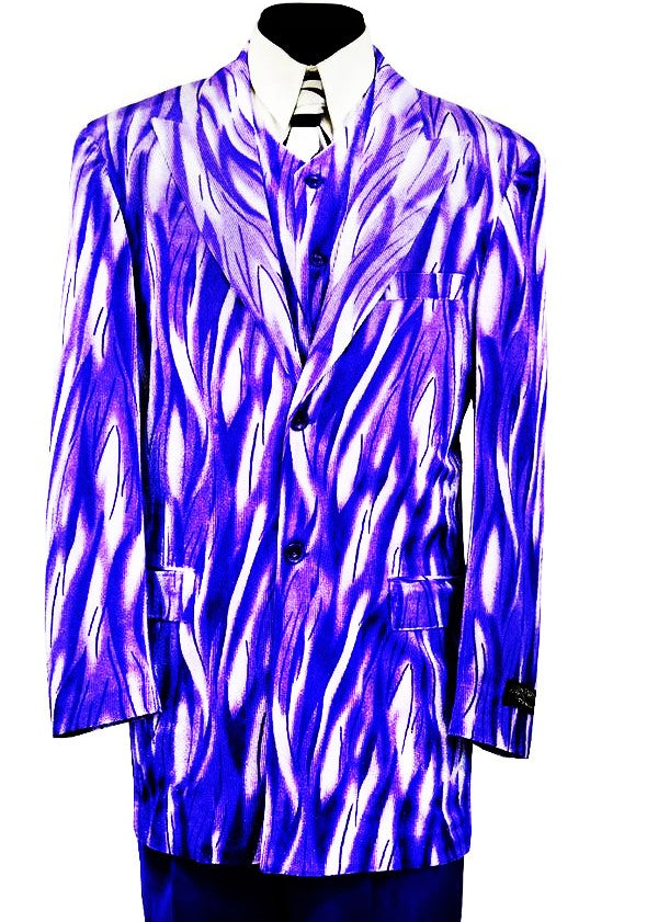 Abstract Flames 3pc  Zoot Suit Set - Purple