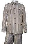 Victorian Stripes Vintage Quad Pocket Long Sleeve 2pc Walking Suit Set - Coffee