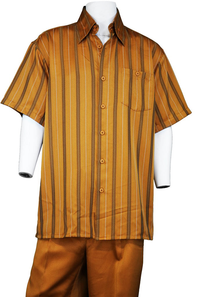 Suture Stripes Short Sleeve 2pc Walking Suit Set - Apricot
