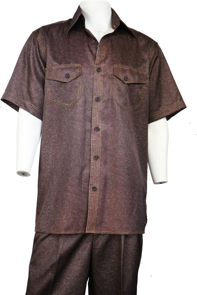 Sharkskin Short Sleeve 2pc Walking Suit Set - Copper