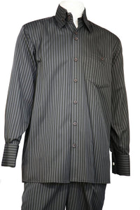 Cage Stripes Long Sleeve 2pc Walking Suit Set - Charcoal