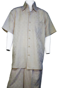 Gridlock Short Sleeve 2pc Walking Suit Set - Taupe