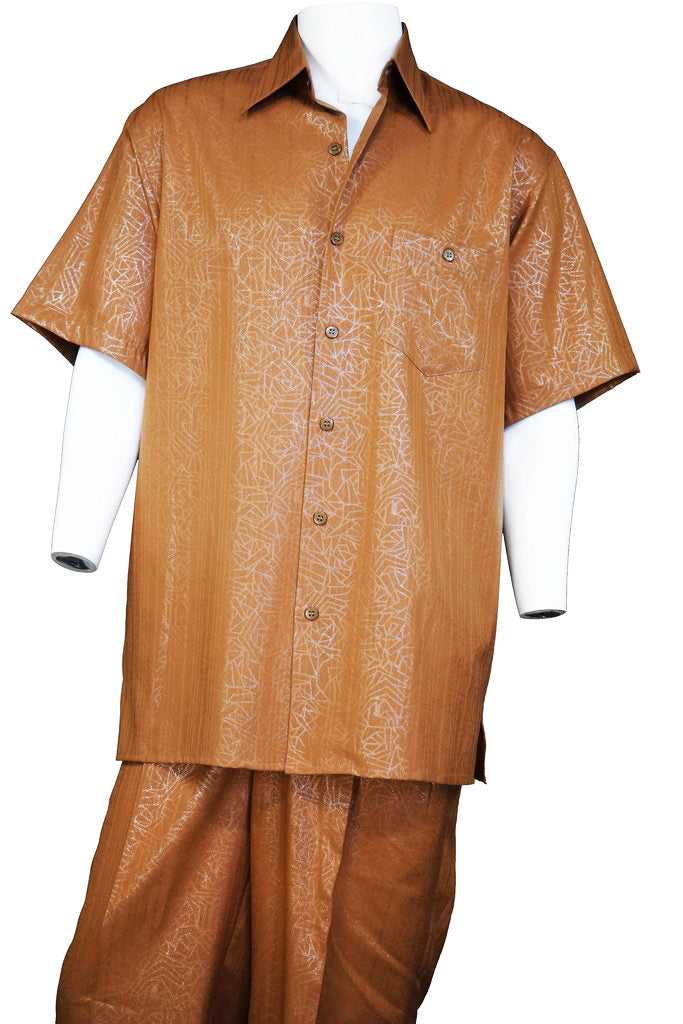 Abstract Shapes Emblazoned Short Sleeve 2pc Walking Suit Set - Rust