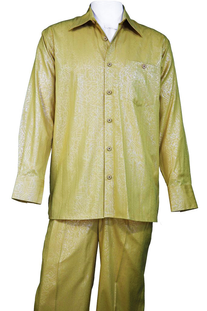 Abstract Shapes Emblazoned Long Sleeve 2pc Walking Suit Set - Mustard