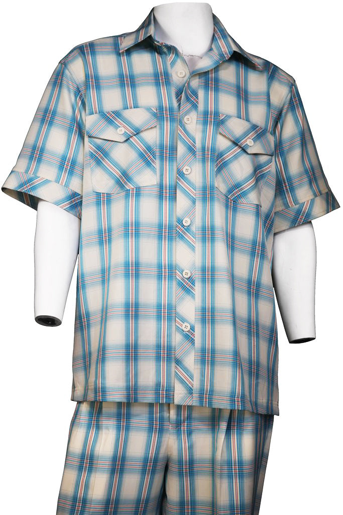 Crosshatch Checkered Dual Pocket Short Sleeve 2pc Walking Suit Set - Teal