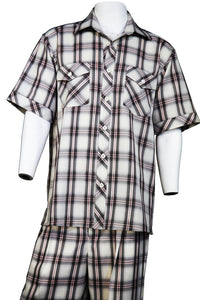 Crosshatch Checkered Dual Pocket Short Sleeve 2pc Walking Suit Set - Black