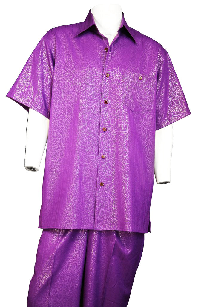 Abstract Shapes Emblazoned Short Sleeve 2pc Walking Suit Set - Purple