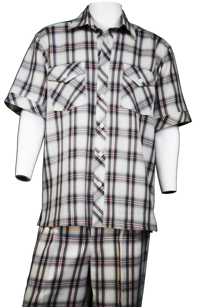 Crosshatch Checkered Dual Pocket Short Sleeve 2pc Walking Suit Set - Coffee