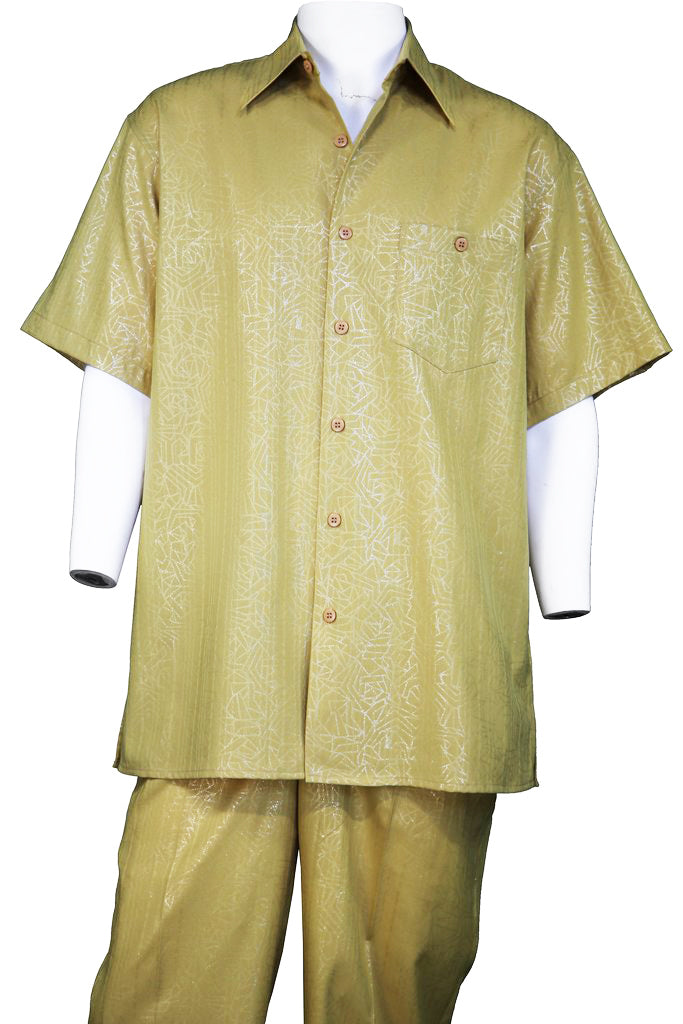 Abstract Shapes Emblazoned Short Sleeve 2pc Walking Suit Set - Mustard