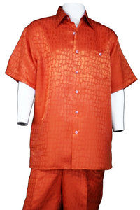 Crocodilian Scale Short Sleeve 2pc Walking Suit Set - Burnt Orange