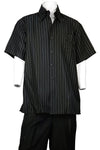 Razor Stripes Short Sleeve 2pc Walking Suit Set - Black