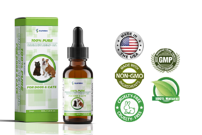 Sunmik organic hemp oil for dogs and cats