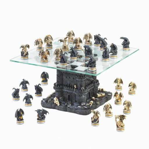Adult Modern Chess Board Sets, Large Glass Dragons Chess Set Battle Theme