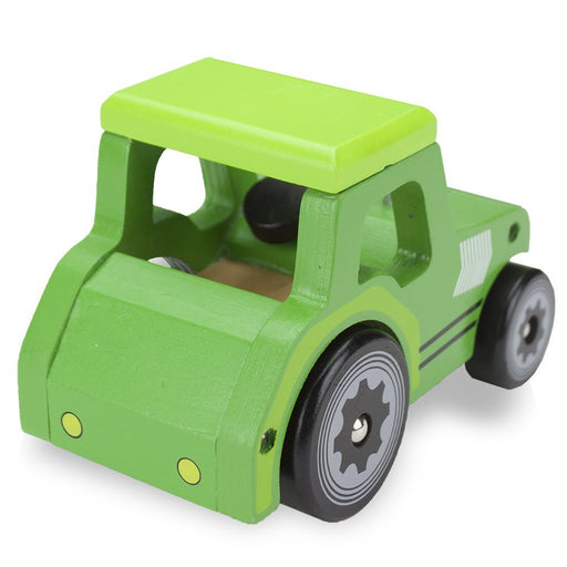 Kids Wooden Cars, Wooden Wheels Natural Beech Wood Tractor Wooden Car Toys