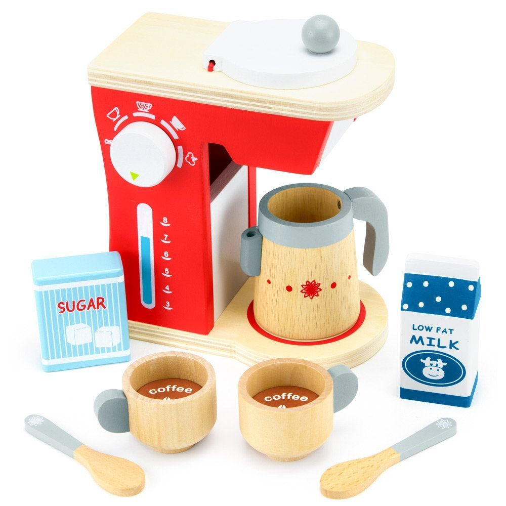 Girls Toy Playset, Wood Eats Good Mornings Coffee Maker Kids Toys Playsets