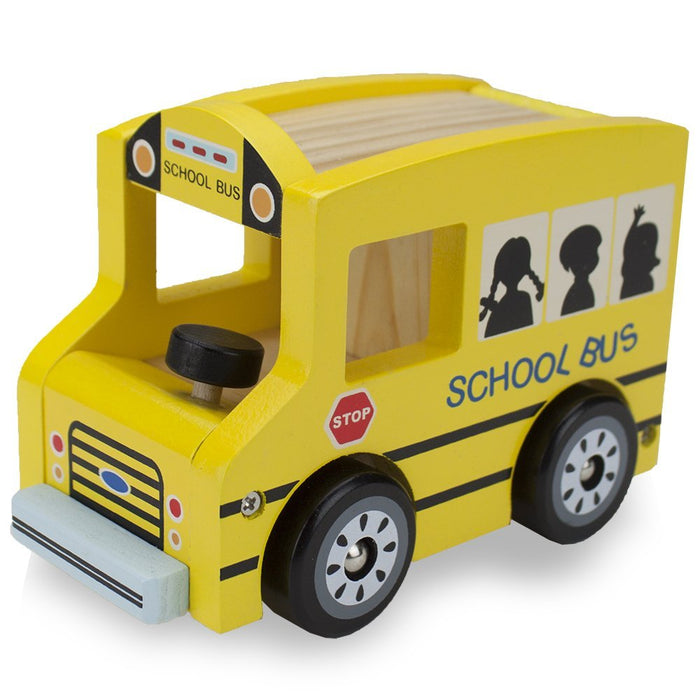 Wooden Cars Toys, Wooden Wheels Natural Beech Wood School Bus Wooden Car Toys