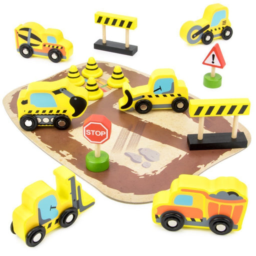 Playsets Toys, 14pcs City Builders Wooden Construction Vehicles Kids Playset Toy