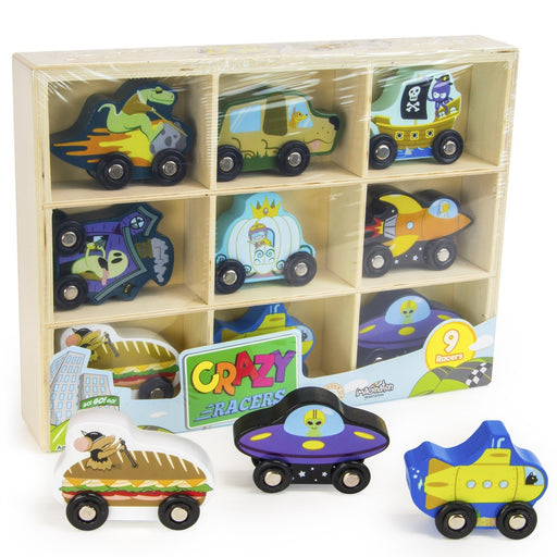 Toys Playsets, 9 Wacky Crazy Racers Wooden Car Vehicle Kids Toys Playsets