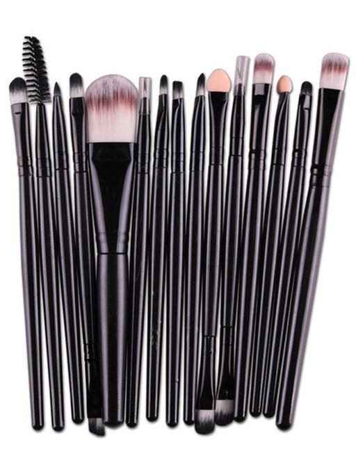 15pc Nylon Makeup Brushes Set Professional Eye Brush Makeup Set  - Black