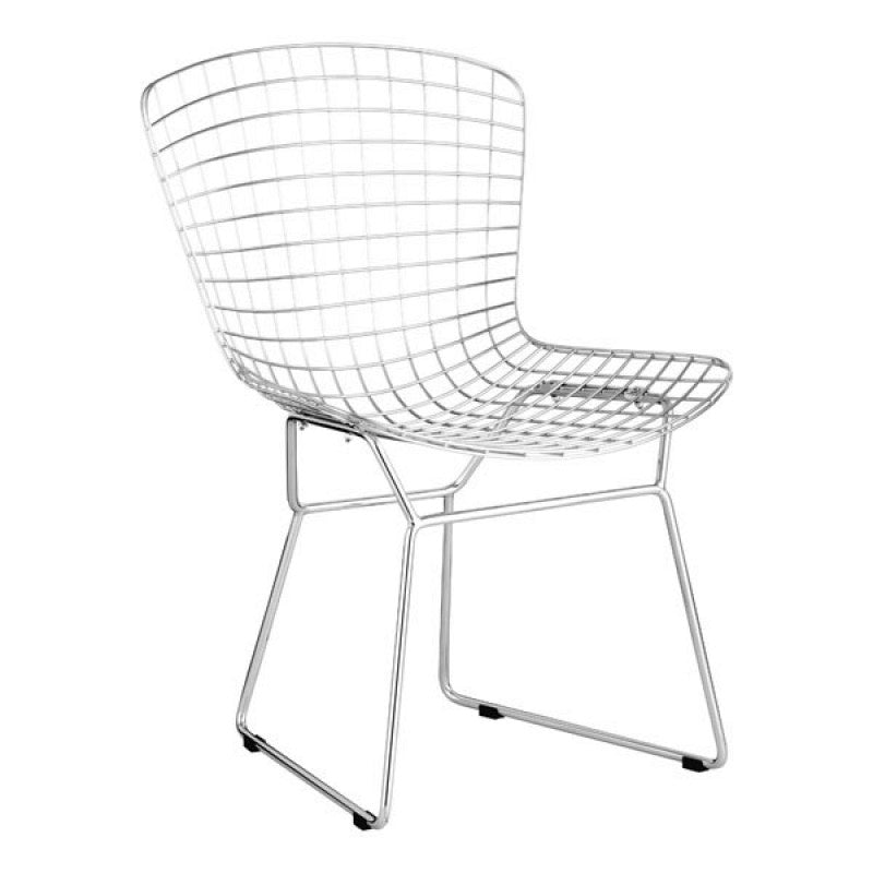 Contemporary Unique Metal Chromed Steel Wire Dining Room Chairs - Set Of 2