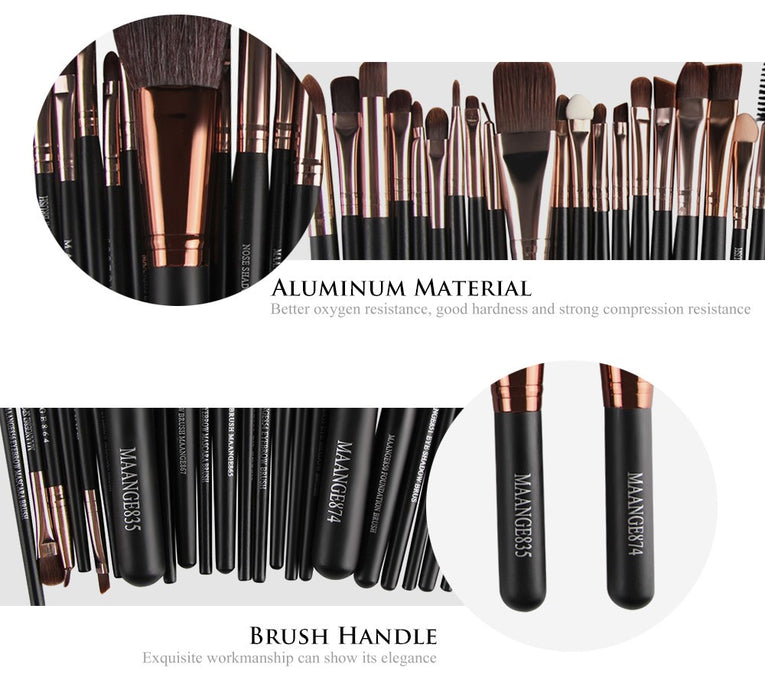 22pc Black Rose Gold Makeup Travel Brush Set Makeup Brush Set Professional