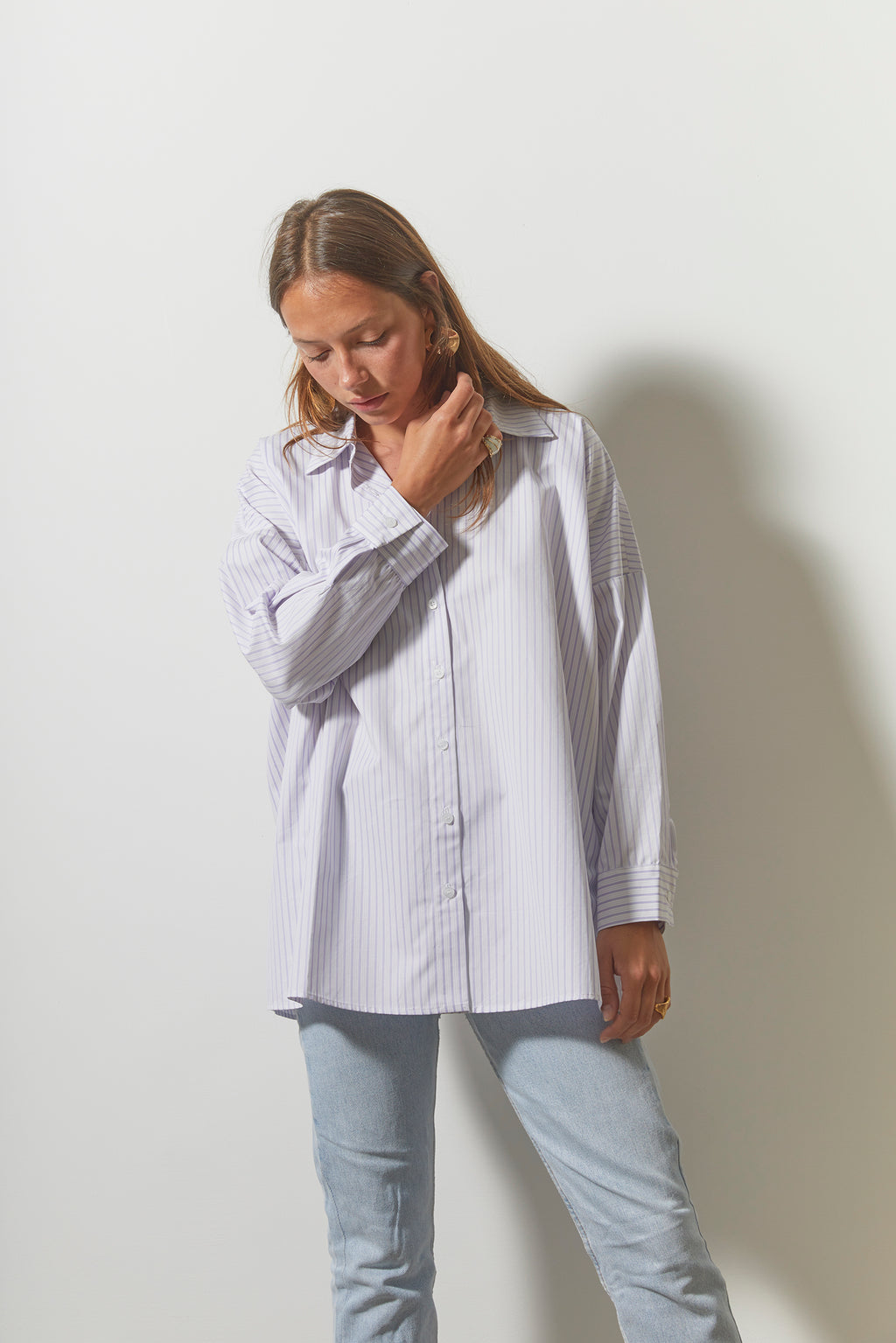 Chemise Clo - Blanche Rayures Lilas