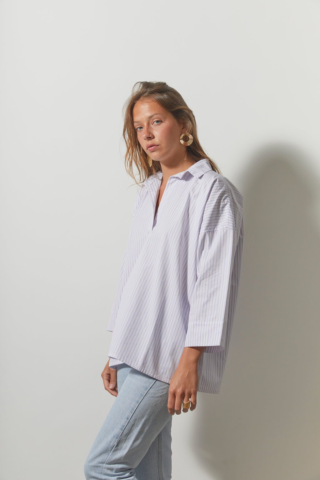 Chemise Jeff - Blanche Rayures Lilas
