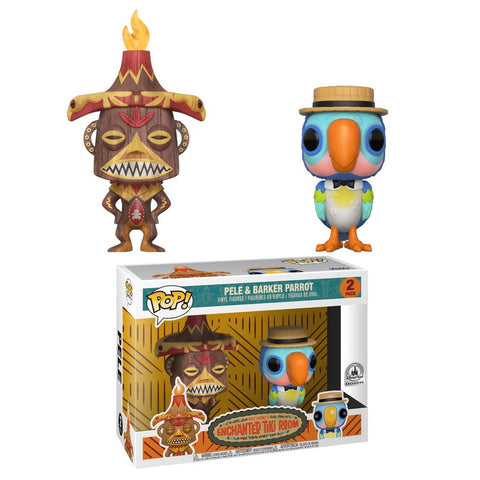 DISNEY PARKS EXCLUSIVE-PELE & BARKER PARROT-Enchanted Tiki Room Funko PoP! 2 PACK