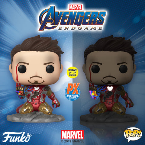 PoP! Marvel: Avengers-Endgame Iron Man (Snap) PX Previews Exclusive GITD COMING SOON