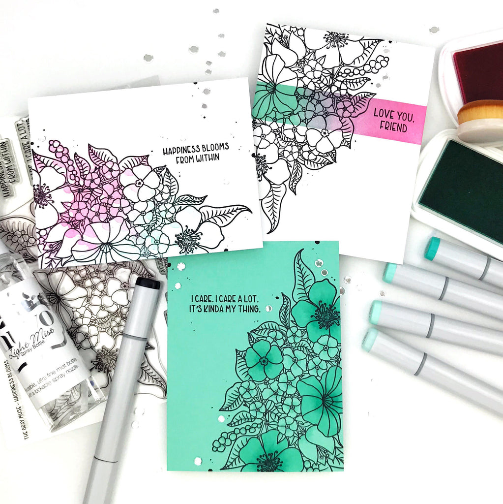 The Gray Muse 3 Quick Ways to Add Color to Stamped Images Happiness Blooms with Carly Tee Minner