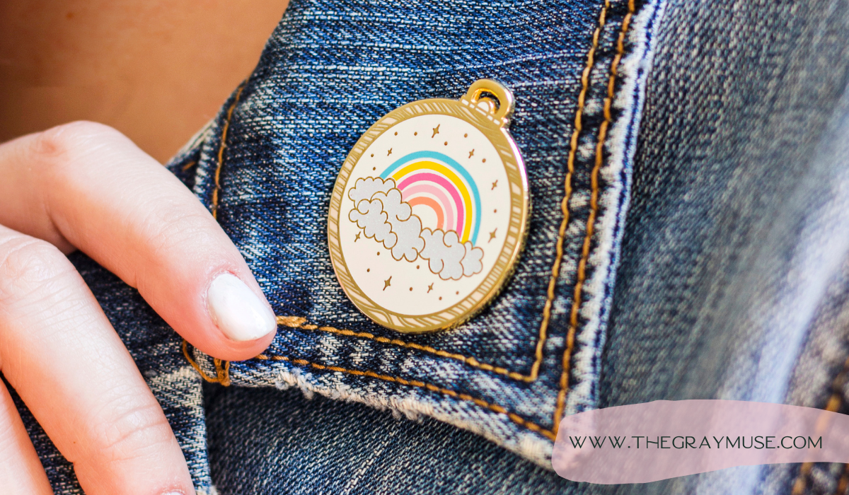 The Gray Muse Pin on Denim Jacket