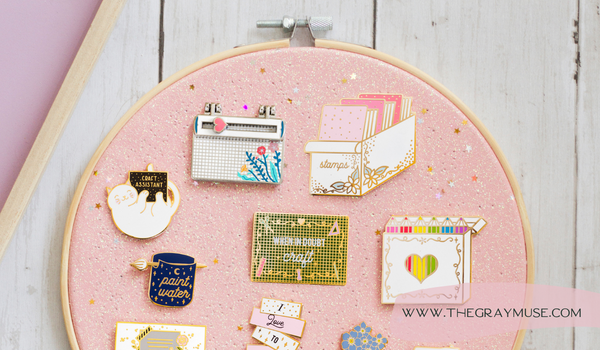 The Gray Muse Pins on Embroidery Hoop