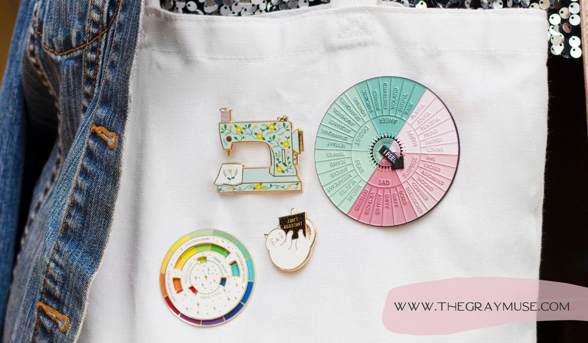 The Gray Muse Pins on Tote Bag